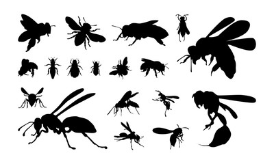 set of Various Bee and Wasp Silhouette vector illustration
