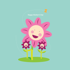 Mothers Day Cute Flower Family And Butterfly Graphic