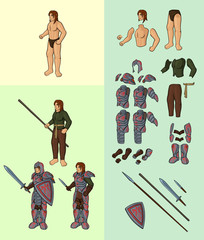 Set of half elves v1. Character with full plate armour: Vector cartoon half elf body parts with epic equipment