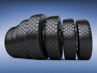 Row of big vehicle truck tires. New car wheels.