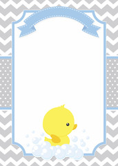 cute baby shower card with little baby rubber duck on chevron pattern and polka dots background