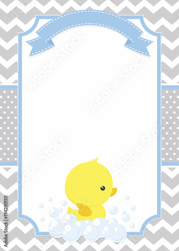 Cute Baby Shower Card With Little Baby Rubber Duck On Chevron