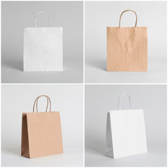 Set of blank shopping bags on light background. Mockup for design