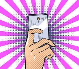 Hand keeps a mobile phone. Vector illustration.