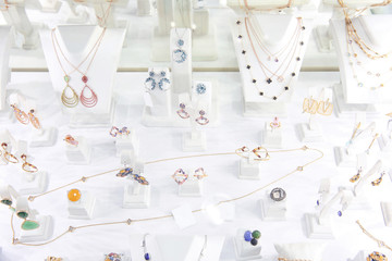 Showcase with jewelry in shop