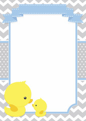 baby shower invitation with cute duck mom and baby ducky on chevron pattern and polka dots background