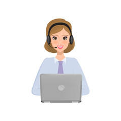 Business people to call center. Customer service character. Illustration vector.