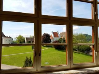 View through window rural abbey