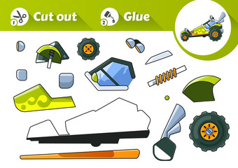 Cut and Glue is an educational game for kids. Green Buggy Side View.
