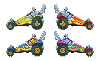 Buggy Side View. 4 Color Schemes.
