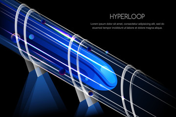 High speed futuristic magnetic train. Hyperloop, vector glowing , isometric view illustration. Future express railroad and transport design concept.