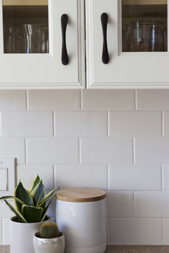 All White Kitchen Cabinet, Tile and Decor