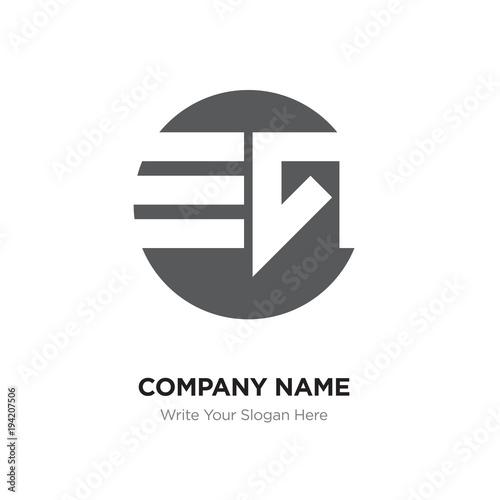 Abstract Letter Eg Ge Logo Design Template Black Alphabet Initial