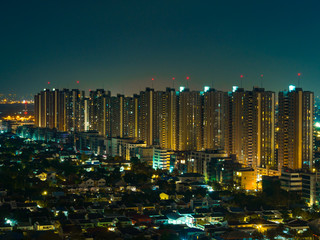 Night cityscape of Metropolitan areas of Thailand with building