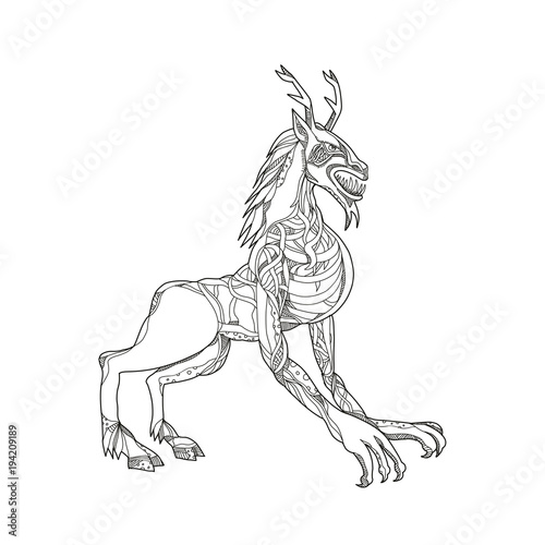 Doodle art illustration of a wendigo or windigo, an Algonquian
