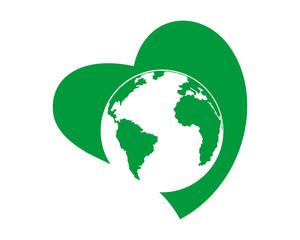 earth heart image vector icon logo
