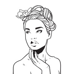 Beautiful Woman Face, Hand Drawn Young Girl With Elegant Hairstyle Holding Hand On Chin Sketch Vector Illustration