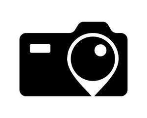 black camera lens marker photo photography photographer photographic image vector icon