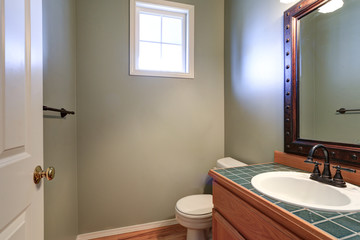 Grey powder room offers vanity cabinet with green tiled counter top.