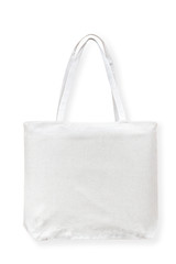 Tote bag canvas cotton fabric cloth for eco shopping sack mockup blank template isolated on white background (clipping path)