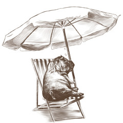 Hippo laying asleep on a beach lounger under a folding umbrella in sketch vector graphics monochrome drawing