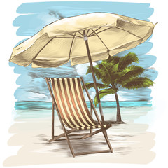 sunbed and umbrella on the background of a sandy beach and palm tree sketch vector graphics color picture