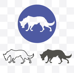 Silhouette of the wolf. Vector logo. wildlife. Wild wolf. Vector illustration icon