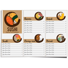 menu japan food sushi design template graphic