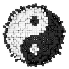 Yin Yang symbol consisting of blocks, 3d rendered model