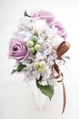 プリザーブドフラワー 紫バラ 花器