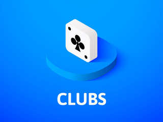 Clubs isometric icon, isolated on color background