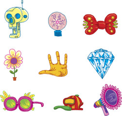 A collection of funky cartoon icons featuring a robot skull, plasma globe, bow tie, flower, hand palm, diamond, glasses, a baseball cap and a bullhorn.