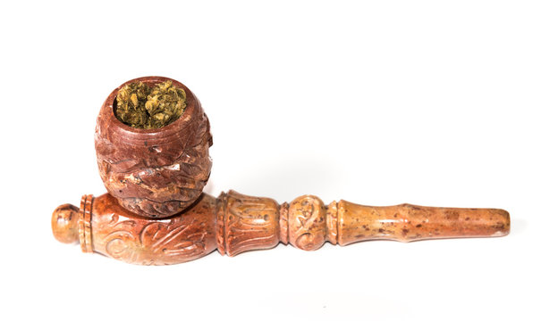 Medical and Recreational Marijuana in a stone pipe