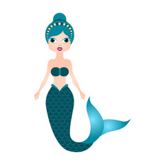 Mermaid cartoon character. Fantasy creature