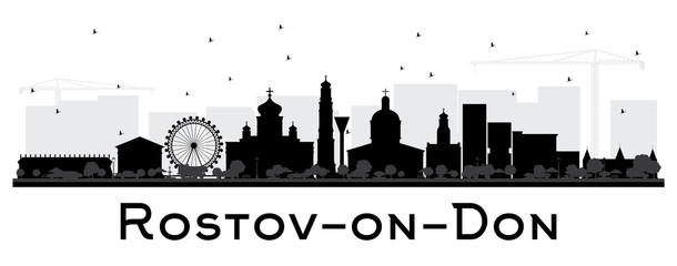 Rostov-on-Don Russia City Skyline Silhouette with Black Buildings Isolated on White.