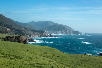 View from Highway One of a bridge in Big Sur, California