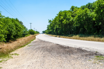 a small Texas country road lined by trees