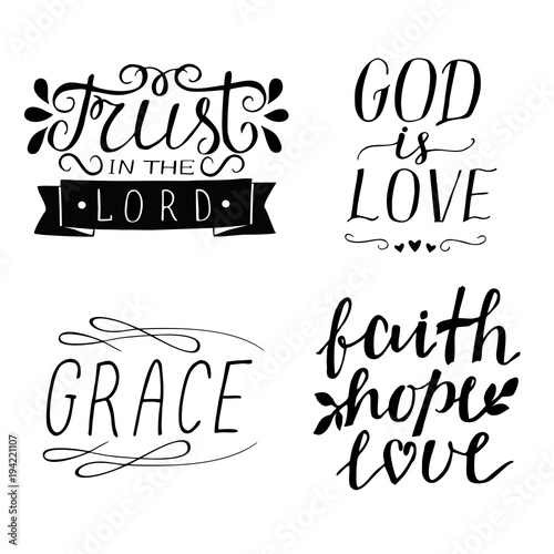 Set Of 60 Hand Lettering Christian Quotes God Is Love Faith Hope Custom Love Faith Hope Quotes
