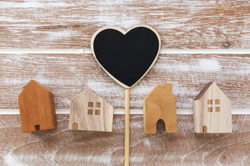 Model of houses with heart sign