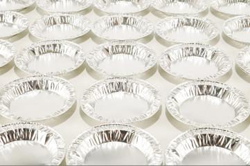 Round aluminium foil food isolated