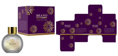 Packaging design, Label on cosmetic container with luxury box template and mockup box. illustration vector.