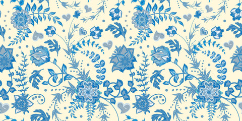 Seamless floral pattern. Hand draw vector Illustration. Seamless background with flowers. Blue on white.