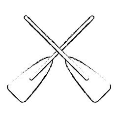 two wooden crossed boat oars sport vector illustration   sketch style design