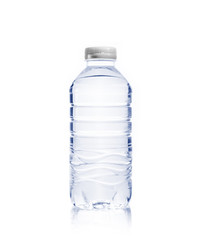 Bottle of drinking water on white isolated background