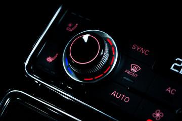 Close up shot of luxury car audio controls