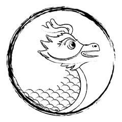drawing red chinese dragon symbol vector illustration   sketch style design