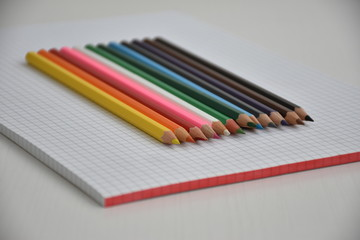 Closeup shot of colored pencils