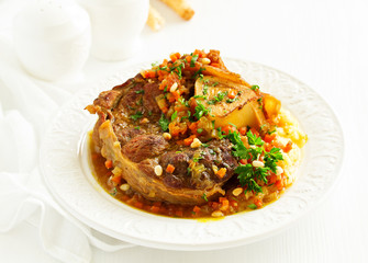 ossobuko from beef shank with polenta.