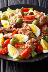 French food: nicoise salad with vegetables, eggs, tuna and anchovies close-up on a plate. vertical