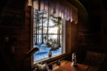 Window in the house overlooking the winter landscape